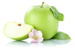 Apple fruit green slice isolated on white Stock Photos