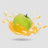 Apple fruit juice splash realistic illustration. Apple fruit juice splash 3d  vector realistic illustration Royalty Free Stock Photo