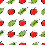 Apple fruit leaf vector color seamless pattern. Simplified retro illustration. Wrapping or scrapbook paper background royalty free stock photo