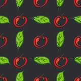 Apple fruit leaf vector color seamless pattern. Simplified retro illustration. Wrapping or scrapbook paper background stock images