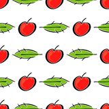 Apple fruit leaf vector color seamless pattern. Simplified retro illustration. Wrapping or scrapbook paper background stock photography