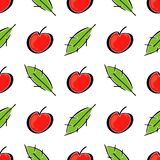 Apple fruit leaf vector color seamless pattern. Simplified retro illustration. Wrapping or scrapbook paper background royalty free stock photography