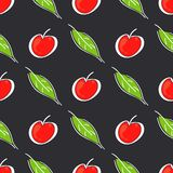 Apple fruit leaf vector color seamless pattern. Simplified retro illustration. Wrapping or scrapbook paper background royalty free stock photos