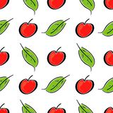 Apple fruit leaf vector color seamless pattern. Simplified retro illustration. Wrapping or scrapbook paper background royalty free stock image