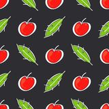 Apple fruit leaf vector color seamless pattern. Simplified retro illustration. Wrapping or scrapbook paper background stock photo