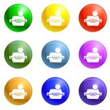 Apple fruit lunchbox icons set vector royalty free illustration