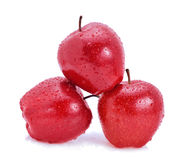 Apple fruit red water drops. On white background Stock Images