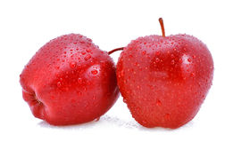 Apple fruit red water drops. On white background Royalty Free Stock Image