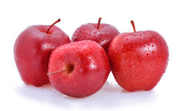 Apple fruit red water drops. On white background Royalty Free Stock Photos