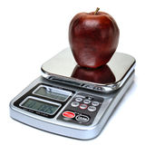 Apple Fruit on Scale for Calorie Counting Diet Stock Photography