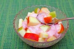 Apple fruit slice with yogurt Royalty Free Stock Image