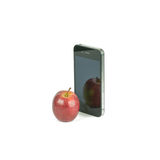 Apple Fruit and smart phone Isolated Royalty Free Stock Image