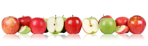 Apple fruits apples border in a row royalty free stock photos