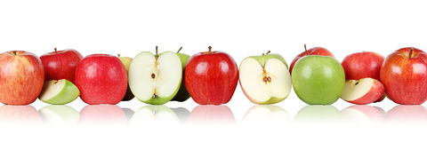 Apple fruits apples border in a row isolated Stock Photos
