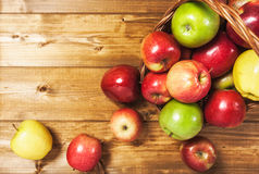 Apple fruits with basket Stock Images