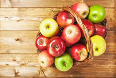 Apple fruits in basket Royalty Free Stock Images