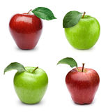 Apple fruits with leaf. Apple fruits collection with leaf  on white background Stock Photo