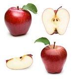 Apple fruits with leaf. Red apple fruits collection with leaf  on white background Royalty Free Stock Photo