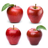Apple fruits with leaf. Red apple fruits collection with leaf  on white background Stock Images