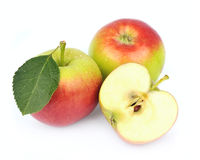 Apple fruits with leaves Stock Photo