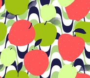 Apple fruits seamless pattern. Red, green and golden apples. With leaves on abstract geometric background. Trendy flat illustration Vector Illustration