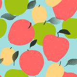 Apple fruits seamless pattern. Red, green and golden apples Royalty Free Stock Image