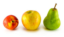 Apple frukt, nektarin, päron som isoleras på vit royaltyfria bilder