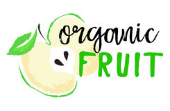 Apple fruktetikett och klistermärke - organisk frukt Royaltyfria Foton