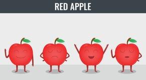 Apple Frutti divertenti del fumetto Alimento biologico Vettore Fotografia Stock