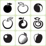 Apple fruttifica icone messe Fotografia Stock Libera da Diritti