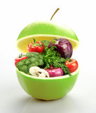Apple full of vegetables Royalty Free Stock Images