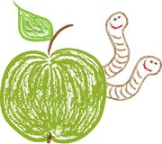 Apple and funny worms Stock Images
