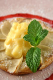 Apple Galettes 2. Apple galettes with custard and strawberry conserve Royalty Free Stock Photos