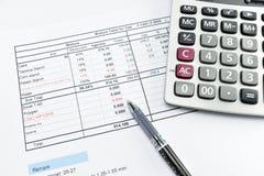 Apple, geld, klok, telefoon en calculator op document wordt geplaatst dat Royalty-vrije Stock Foto's