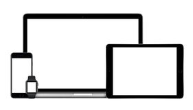Apple-Geräte stellten mit MacBook-iPad iPhone Apple-Uhr ein Lizenzfreies Stockbild
