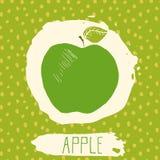 Apple-getrokken de hand schetste fruit met blad op blauwe achtergrond met puntenpatroon Krabbel vectorappel voor embleem, etiket, Stock Afbeelding