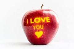 Apple - gift. Premium apple with a declaration of love stock photography