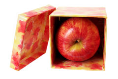 Apple in Gift Box Royalty Free Stock Photos