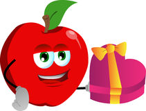 Apple with gift for Valentines Day Royalty Free Stock Images