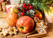 Apple, Gingerbread and Spices with Christmas Decoration Royalty Free Stock Photo