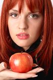 Apple and girl Royalty Free Stock Photo