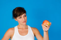 Apple and a girl Stock Photo