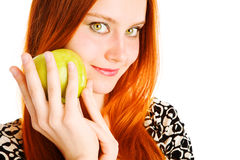 Apple and girl Stock Photography