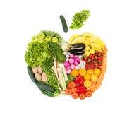 Apple gjorde ut ur isolerade frukter och grönsaker på vit bakgrund Royaltyfri Foto