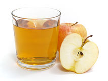 Apple with a glass of juice Stock Photos