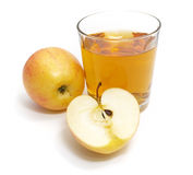 Apple with a glass of juice. Isolated on white background Stock Image