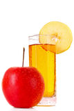 Apple and glass with juice isolated Royalty Free Stock Images