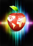 Apple Globe on Abstract Spectrum Background Royalty Free Stock Photos