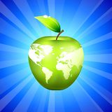 Apple Globe World Map on Blue Background Stock Photos