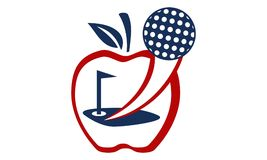Apple Golf Ball. Logo Design Template Vector Royalty Free Stock Images
